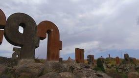 Armeńskiego abecadła zabytek, giganta kamienia listy, duma narodowa, sekwencja zbiory wideo