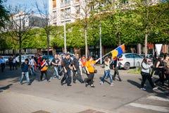 Armeńskiego ludobójstwa wspominania 100th marsz w Francja Zdjęcia Stock