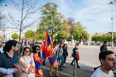 Armeńskiego ludobójstwa wspominania 100th marsz w Francja Fotografia Royalty Free