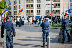 Armeńskiego ludobójstwa wspominania 100th marsz w Francja Obrazy Stock