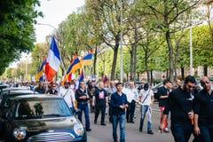 Armeńskiego ludobójstwa wspominania 100th marsz w Francja Obrazy Royalty Free