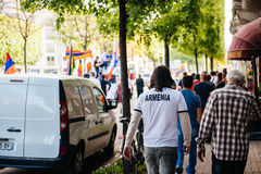Armeńskiego ludobójstwa wspominania 100th marsz w Francja Zdjęcie Stock