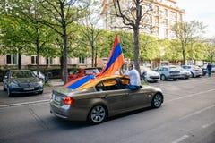 Armeńskiego ludobójstwa wspominania 100th marsz w Francja Zdjęcie Royalty Free