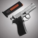 Arme à feu de fer avec la poignée et l'agrafe en plastique Image libre de droits
