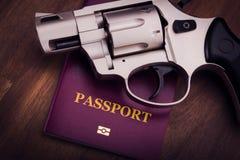 Arme à feu et passeport Photographie stock libre de droits
