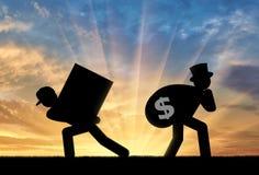 Arme Arbeitskraft und der reiche Geschäftsmann lizenzfreie stockfotos