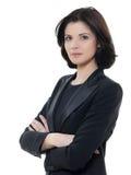 Schönes ernstes kaukasisches Geschäftsfrauporträt bewaffnet crosse Stockbilder