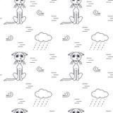Arme obdachlose Katzen draußen im nahtlosen Muster des schlechten Wetters Stockbilder