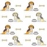 Arme unglückliche hungrige Hundenahtloses Muster Stockfotos