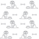 Arme unglückliche hungrige Hundenahtloses Muster Stockbild