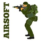 Airsoft player in tactical equipment hand-drawn Illustration. Armed airsoft shooter military in tactical equipment preparing to train with an automatic rifle Stock Images