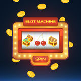 Armed bandit, game machine in casino with different isolated pictures. Open and closed chest with treasures and cherry Royalty Free Stock Photography