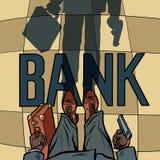 Armed Bank robbery. Shadow floor silhouette. Comic cartoon pop art retro drawing illustration royalty free illustration