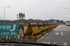Armed barrier and check point separating South from North Korea - Asia- NOVEMBER 2013 Royalty Free Stock Images