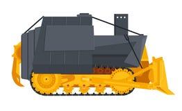 Armed bulldoser. Or killldozer with flay yellow and grey colors vector illustration