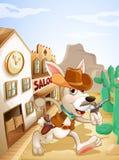 An armed bunny. Illustration of an armed bunny stock illustration