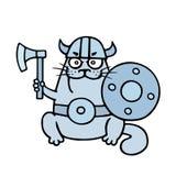 Armed cartoon cat viking. Vector illustration. royalty free stock image