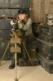 Armed combat soldier woman. Portrait of armed combat soldier woman in ammunition Stock Photo