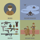 Armed conflict. Attack from the air and patrolling. Flat  vector illustration Stock Photos