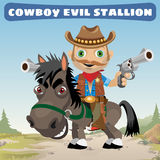 Armed cowboy for an evil stallion Royalty Free Stock Photography