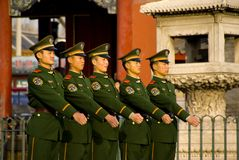 Armed escorts in Forbidden City Stock Image