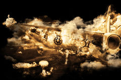 Armed fighter-bomber bombing ground objects. Stock Photo