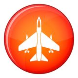 Armed fighter jet icon, flat style Royalty Free Stock Photos