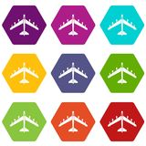 Armed fighter jet icon set color hexahedron. Armed fighter jet icon set many color hexahedron isolated on white vector illustration Stock Photo