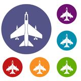 Armed fighter jet icons set. In flat circle reb, blue and green color for web Stock Image