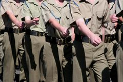 Armed Forces Cadets Marching. Young armed forces cadets / soldiers marching Stock Photo