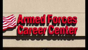 Armed Forces Career Center. SALINAS, CA/USA - MAY 13, 2014: Armed Forces Career Center. Armed Forces Career Centers recruit and enlist men and women into the stock video footage
