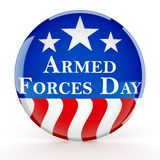Armed forces day button. 3d render stock illustration