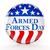Armed forces day button. 3d render royalty free illustration