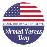 Armed forces day. Thank you to all that serve. Illustration with usa flag. Royalty Free Stock Photo