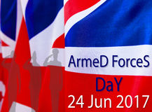 ARMED FORCES DAY UK background. The place to advertise, template. The inscription armed forces day UK 24 Jun 2017 Stock Photography