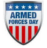Armed Forces Day USA. American flag defence shield image isolated on white Stock Photos