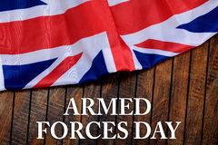 Armed forces day on wooden background - flag of the United Kingdom UK Royalty Free Stock Photo