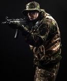 Armed forces. Special forces in the dark Stock Photography
