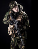 Armed forces. Special forces in the dark Royalty Free Stock Photography