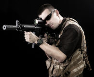 Armed forces. Special forces in desert night Stock Photos