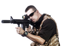 Armed forces. Special forces in desert night Royalty Free Stock Photography