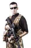 Armed forces. Special forces in desert night Stock Image