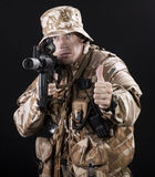Armed forces. Special forces in desert night Stock Photography