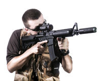 Armed forces. Special forces in desert night Royalty Free Stock Photo