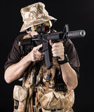 Armed forces. Special forces in desert night Royalty Free Stock Photos