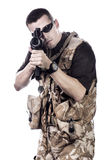 Armed forces. Special forces in desert patrol Royalty Free Stock Image
