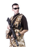 Armed forces. Special forces in desert patrol Royalty Free Stock Images