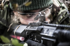 Armed forces. Special forces patrol in woods stock images