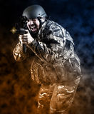 Armed forces. Special forces in urban assault Stock Photos