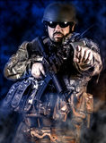 Armed forces. Special forces in urban assault Royalty Free Stock Image